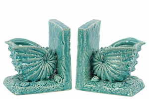 Beautiful Ceramic Sea Snail Shell Bookend w/ Detailed Features Turquoise