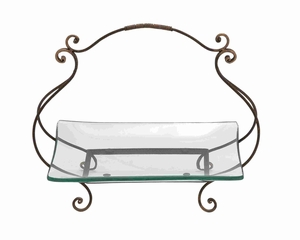 Glass plate with basket style swivel handle - 68543 by Benzara