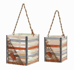 Beautiful Designed Box Shaped Wood Hanging Lantern (Set of 2) Brand Woodland