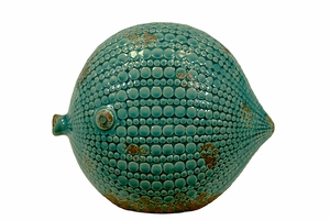Beautiful & Elegant Pattern Ceramic Blow Fish w/ Antique Effect in Blue Large