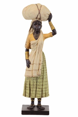 Beautiful & Exceptional Ethnic Village Woman Resin Black Statue