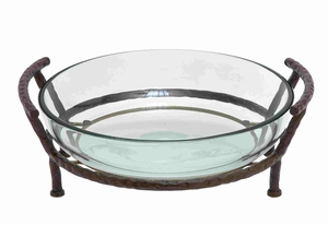 Beautiful Glass Bowl with Ethnic Metal Stand Brand Benzara