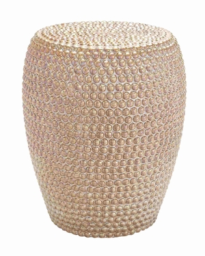 Beautiful Gold Embedded Bead Styled Stool Brand Benzara