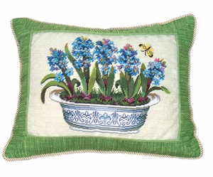 "Beautiful Hyacinth in Pot Petit Point Pillow 14x18"" by 123 Creations"