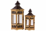 Beautiful & Magnificent Varnished Wooden & Metal Lantern Set of Two