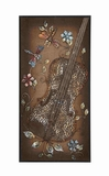 Beautiful Metal Cello Themed Wooden Burlap Wall Panel D�cor Brand Benzara