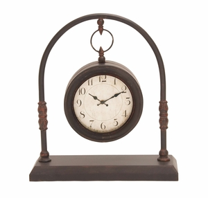 Beautiful Metal Clock Over A Dual Posts Curved Structure Brand Woodland