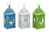 Beautiful Metal Glass Lantern 3 Assorted by Woodland Import