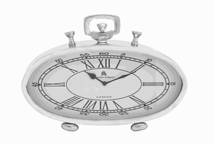 Beautiful Metal Nickel Plated Table Clock with Roman Numerals Brand Woodland