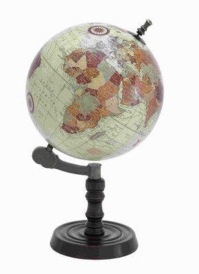 Beautiful Metal Wood Globe with Sturdy Base and Sea Routes Brand Woodland