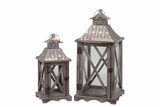 Beautiful Metallic Roofed Wooden Lantern Set of Two Embellished w/ Crossed Design on Each Side of the Glass Panel