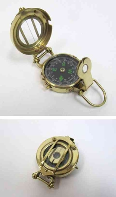 Beautiful Military Compass Brass With White And Green Markings Brand IOTC