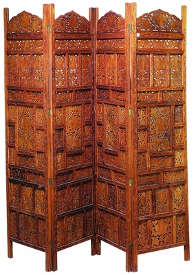 Beautiful Palace Hand Carved Wood Room Divider 4 Panel Screen Brand Woodland