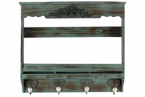 Beautiful Polished Wooden Wall Hook Distressed Blue