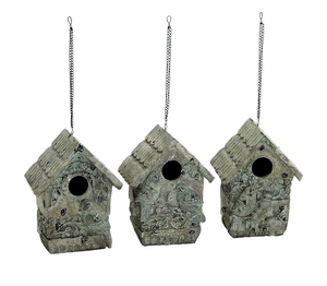 Beautiful Poly Stone Birdhouse in Elegant White Finish (Set of 3) Brand Woodland
