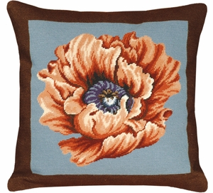 Beautiful Poppy - Brown & Blue Needlepoint Pillow by 123 Creations