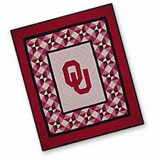 Beautiful Quilted Throws with the University of Oklahoma Logo Brand C&F