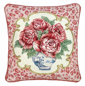 Beautiful Rose with Pink Leopard Needlepoint Pillow by 123 Creations