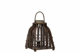 Beautiful & Rustic Wooden Lantern w/ Open Designed Parallel Wood Strips in Brown