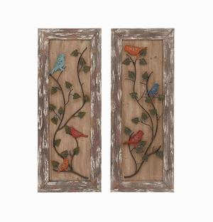 Beautiful Set of Two Enchanting Metal Wooden Framed Wall Decorative Brand Benzara