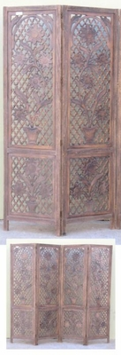 CARVED SCREEN SUNFLOWER , WOOD - Room Divider