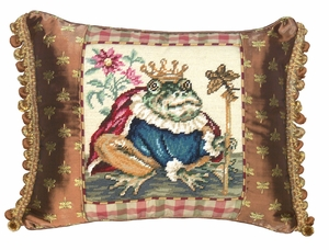 Beautiful Styled Frog Prince Needlepoint Pillow by 123 Creations