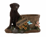 Beautiful Styled Polystone Dog Planter by Woodland Import