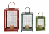 Beautiful Styled Set of 3 Metal Candle Lantern by Woodland Import
