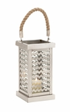 Beautiful Styled Stainless Steel Glass Lantern by Woodland Import