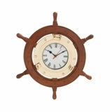 Beautiful Styled Wood Brass Ship Wheel Clock by Woodland Import