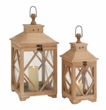 Beautiful Styled Wood Glass Lantern by Woodland Import