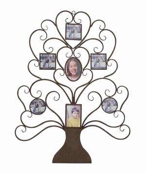 Metal wall tree shaped photo frame - 85992 by Benzara