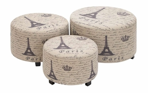Beautiful Wood Ottoman Set/3 With Paris Theme Brand Woodland