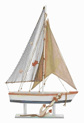 Beautiful Wood Sailing Boat with Realistic Anchor on the Hull Brand Woodland