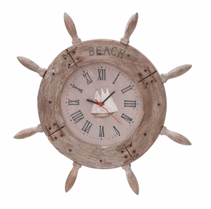 Beautiful Wood Ship Wheel Clock With Beach Marking Brand Woodland
