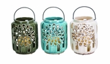 Beautifully Carved Ceramic Lantern 3 Assorted by Woodland Import