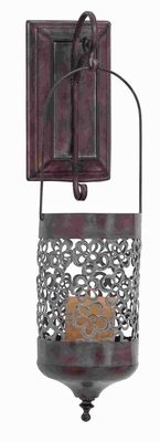 Beautifully Carved Metal Wall Candle Holder in Copper Finish Brand Woodland