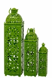 Beautifully Carved Traditional Metal Lanterns Set of Three in Green