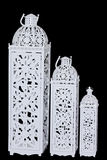 Beautifully Carved Traditional Metal Lanterns Set of Three in White
