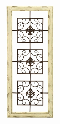 Beautifully Carved Wooden and Metal Wall D�cor in White Brand Woodland