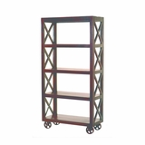 Beautifully Designed Rolling Bookcase by Yosemite Home Decor