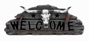 Beautifully Designed Skull Welcome accented with Ranch Details Brand Woodland
