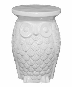 Beautifully Designed White Owl Garden Stool by Three Hands Corp