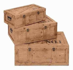 Beautifully Designed Wood Trunk with Double Locks (Set of 3) Brand Woodland