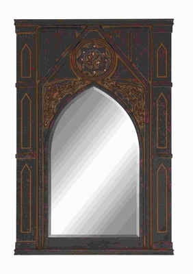 Beautifully Designed Wood Wall Mirror in Dark Brown Finish Brand Woodland