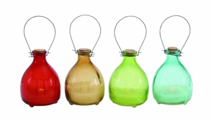 Beautifully Lining Textured Glass Led Candle 4 Assorted by Woodland Import