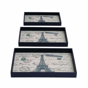 Beautifully Made Paris Themed Tray Set With Fabric Inside Brand Woodland