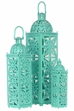 Beautifully Open Carved Metal Lanterns Set of Three in Turquoise