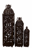 Beautifully Open Carved Metal Rustic Lanterns Set of Three in Brown