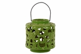 Beautifully Open Carved w/ Floral Design Ceramic Lantern in Green